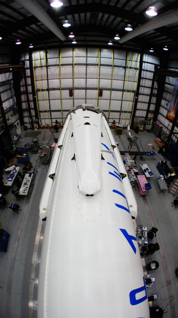 The Falcon 9 with attached landing legs. Photo courtesy of SpaceX.